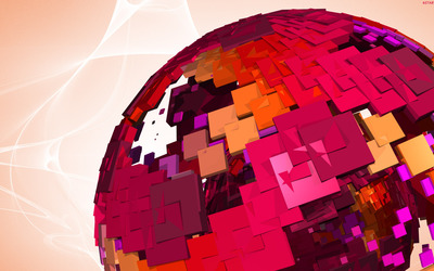 Globe and cubes wallpaper