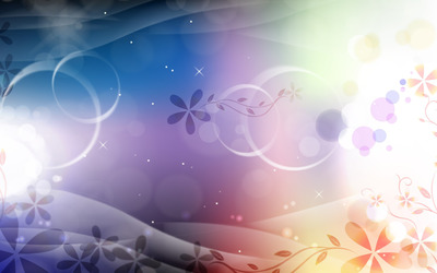 Glowing circles and flowers wallpaper