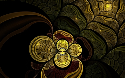 Golden flower glowing inside the swirl Wallpaper