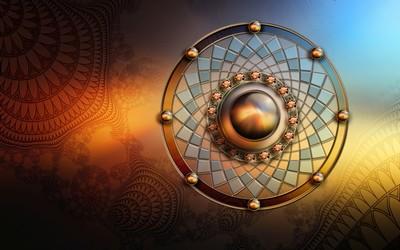 Golden Fractal Circle wallpaper