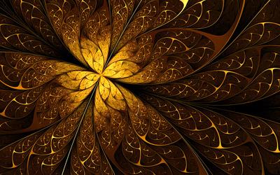 Golden swirling leaves wallpaper