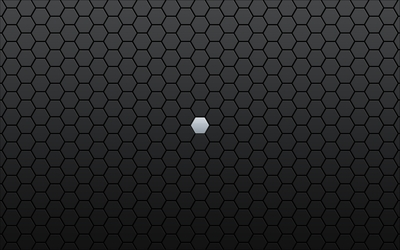 Gray hexagon lost between black ones wallpaper