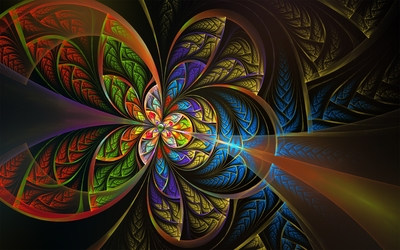 Green bean in the center of the fractal flower Wallpaper