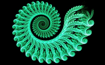 Green glowing fractal swirl Wallpaper