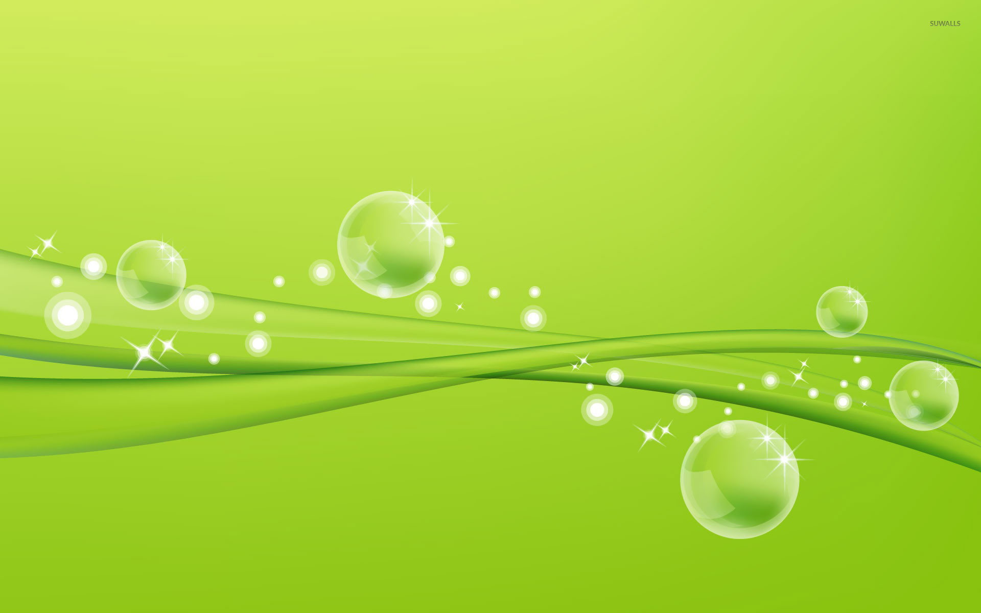 Green Bubbles Texture Wide Wallpaper x