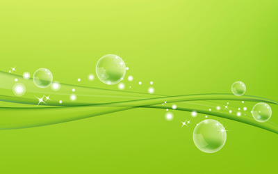 Green waves and bubbles wallpaper