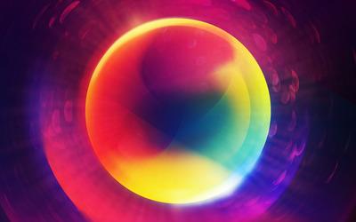Multicolored neon circle wallpaper