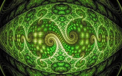 Neon green spiraling fractal design wallpaper