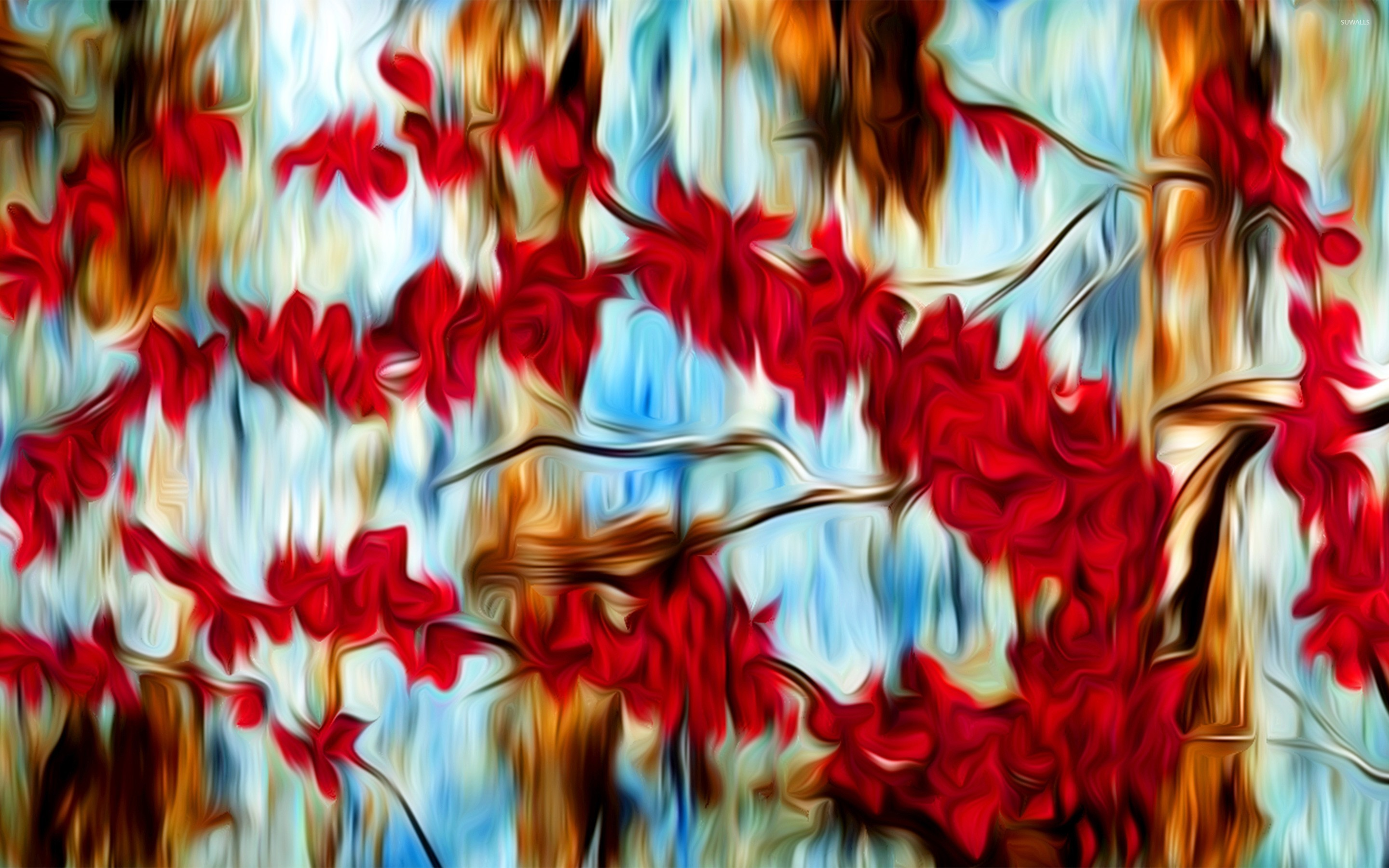 Painted Abstract Cherry Tree Wallpaper