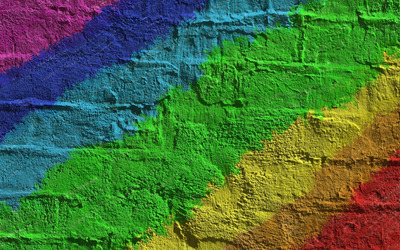 Rainbow colored brick wall wallpaper
