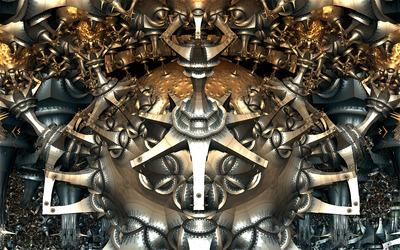 Round metallic cave wallpaper