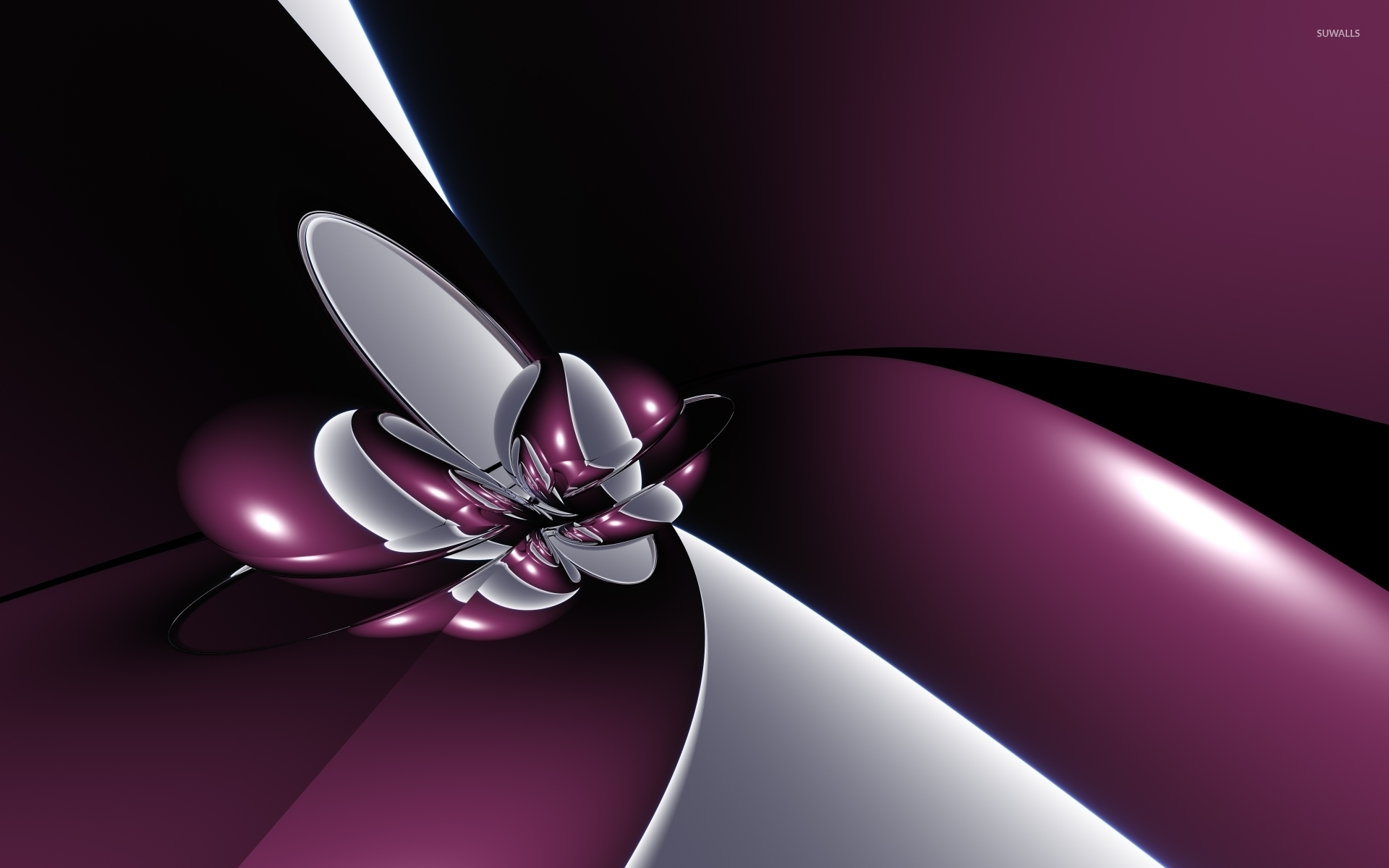 silver and purple metallic shapes wallpaper abstract