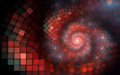 Spiraling red squares wallpaper