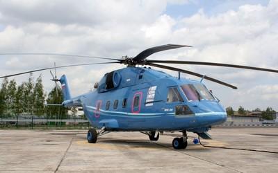 Blue Mil Mi-38 on helipad wallpaper