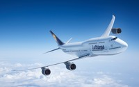 Boeing 747-8 above the fluffy clouds wallpaper 1920x1080 jpg