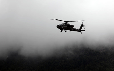 Boeing AH-64 Apache in the fog wallpaper