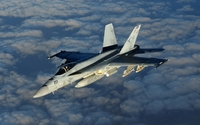 Boeing F/A-18E Super Hornet above the clouds wallpaper 1920x1200 jpg