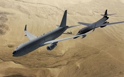Boeing KC-46 above the desert wallpaper