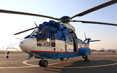 Eurocopter EC225 Super Puma on the helipad wallpaper