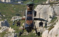 Eurocopter Tiger flying above the mountains wallpaper 2560x1600 jpg