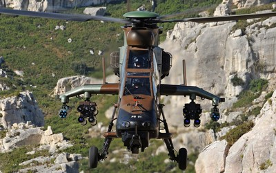 Eurocopter Tiger flying above the mountains wallpaper