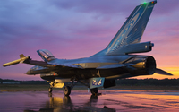 General Dynamics F-16 Fighting Falcon on wet airport track wallpaper 1920x1200 jpg