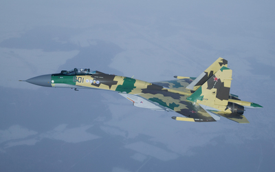 Green Sukhoi Su-35 wallpaper