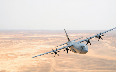 Lockheed Martin C-130J Super Hercules in the sky wallpaper