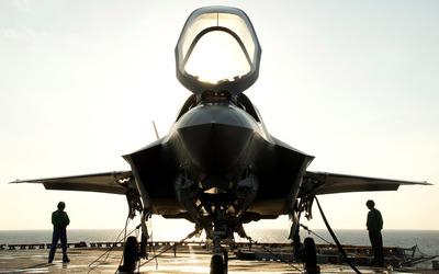 Lockheed Martin F-35 Lightning II on a carrier wallpaper