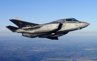 Lockheed Martin F-35 Lightning II view from a side wallpaper