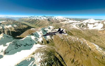 McDonnell Douglas F/A-18 Hornet over the mountains wallpaper