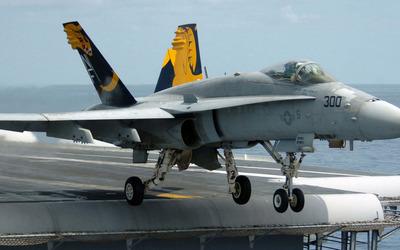 McDonnell Douglas F/A-18 Hornet taking off wallpaper
