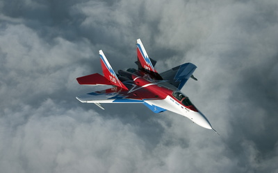 Mikoyan MiG-29 above the clouds wallpaper