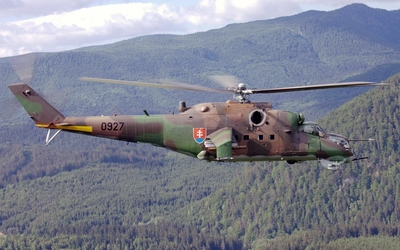 Mil Mi-24 above the forest Wallpaper