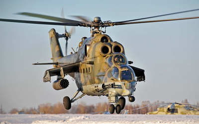 Mil Mi-28 landing during winter wallpaper