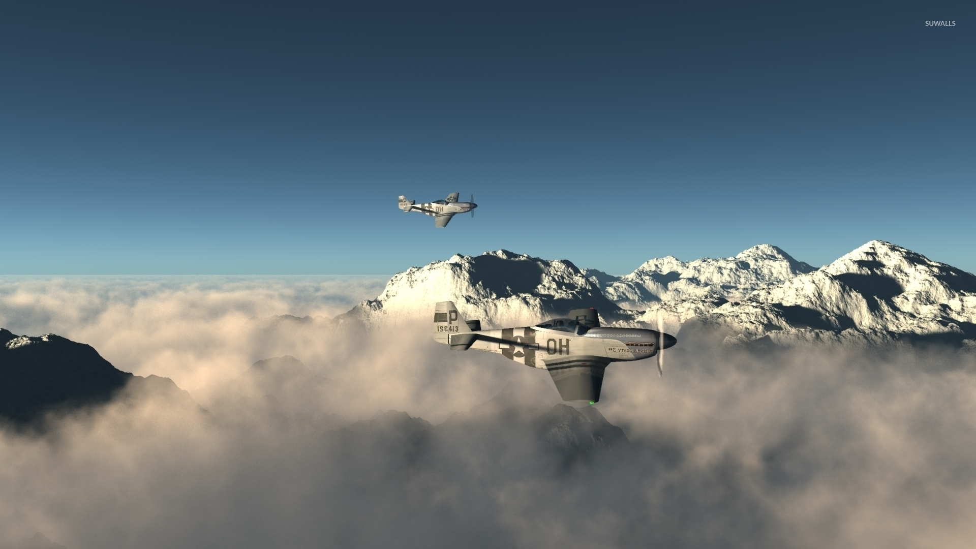 North American P 51 Mustang Above The Foggy Mountain Peaks