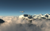 North American P-51 Mustang above the foggy mountain peaks wallpaper 1920x1080 jpg
