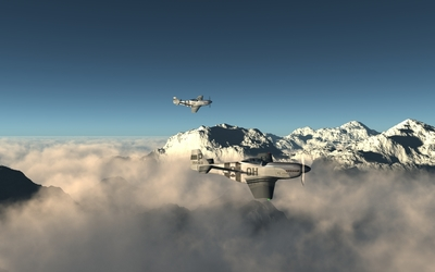 North American P-51 Mustang above the foggy mountain peaks wallpaper