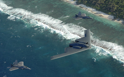 Northrop Grumman B-2 Spirit and Lockheed Martin F-22 Raptor wallpaper