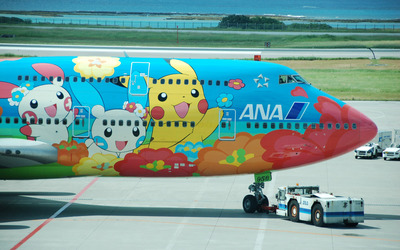 Pokemon characters painted on an Airbus wallpaper