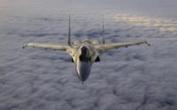Sukhoi Su-35 above the clouds wallpaper 2880x1800 jpg