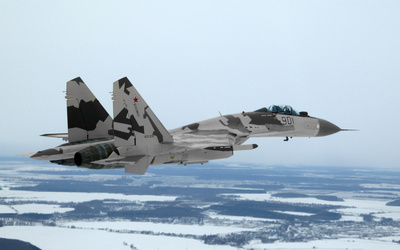 Sukhoi Su-35 with camouflage wallpaper