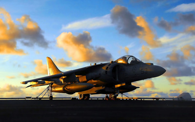 Sunset light reflecting on a Harrier Jump Jet wallpaper