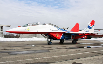 White and red Mikoyan MiG-29 wallpaper