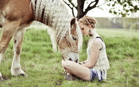 Blonde girl with a beautiful horse wallpaper 1920x1200 jpg