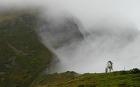 White horse on a foggy mountain wallpaper 1920x1080 jpg