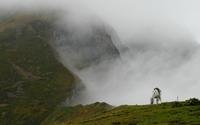 White horse on a foggy mountain wallpaper 1920x1080 jpg