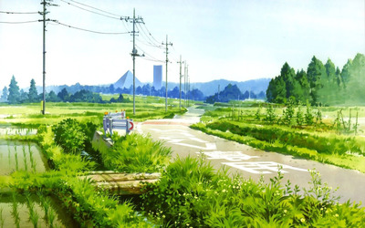 Anime countryside scenery wallpaper