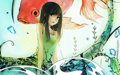 Anime girl and koi fish wallpaper