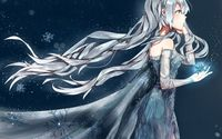 Anime ice queen holding a magical snowflake wallpaper 1920x1200 jpg